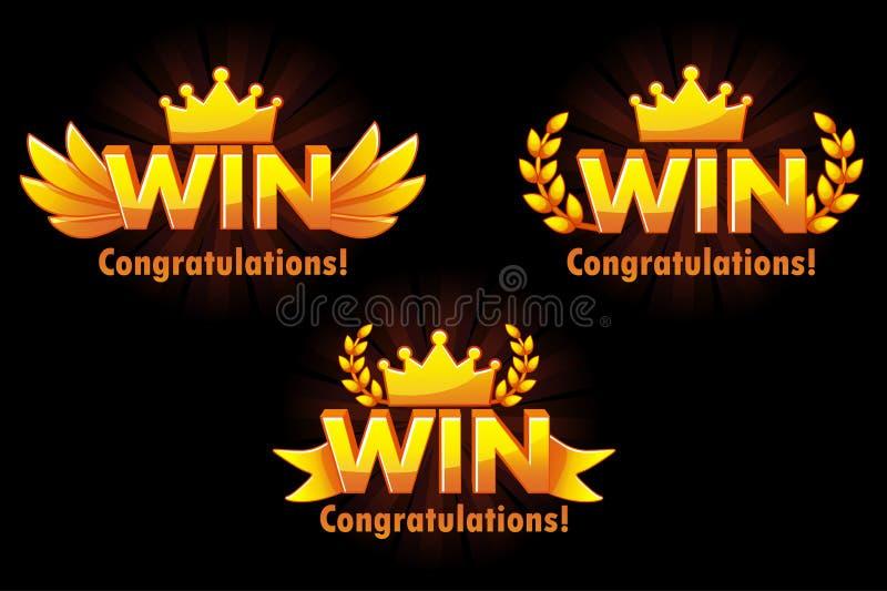 Złota wygrana Wektorowe wersje Odizolowywający logo Wygrywa dla rozwija 2D gier royalty ilustracja