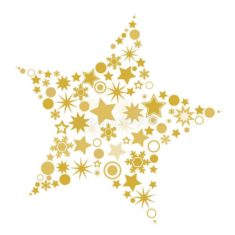 Złota xmas gwiazda Odizolowywająca na bielu - Wektorowa grafika - ilustracja wektor