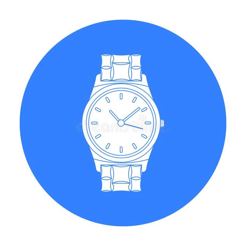 Złota zegarek ikona w czerń stylu odizolowywającym na białym tle Biżuterii i akcesoriów symbolu zapasu wektoru ilustracja ilustracja wektor