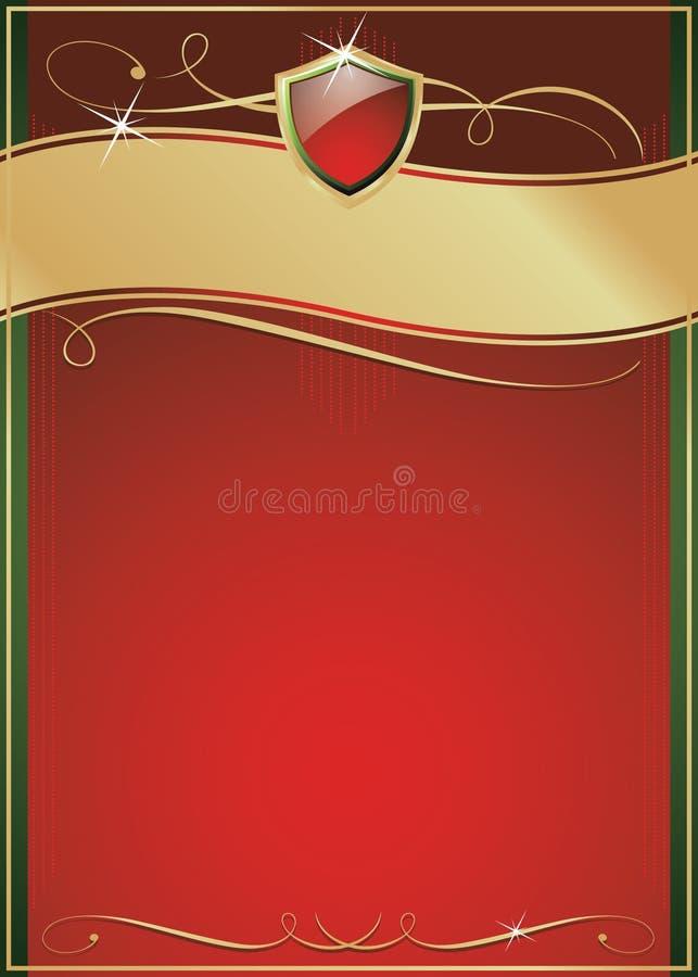 złota zielonej ozdobnej strony czerwona osłona obrazy royalty free