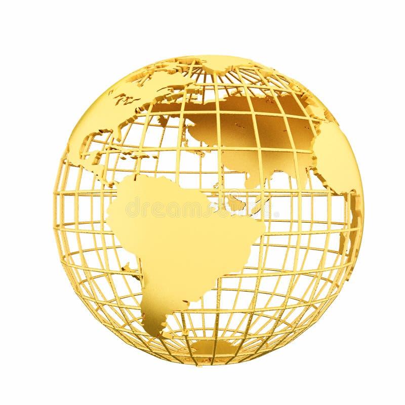 Złota Ziemska planety 3D kula ziemska odizolowywająca ilustracji