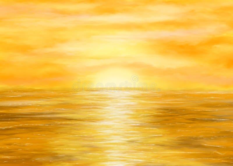 Złota zmierzch ilustracja zdjęcia stock