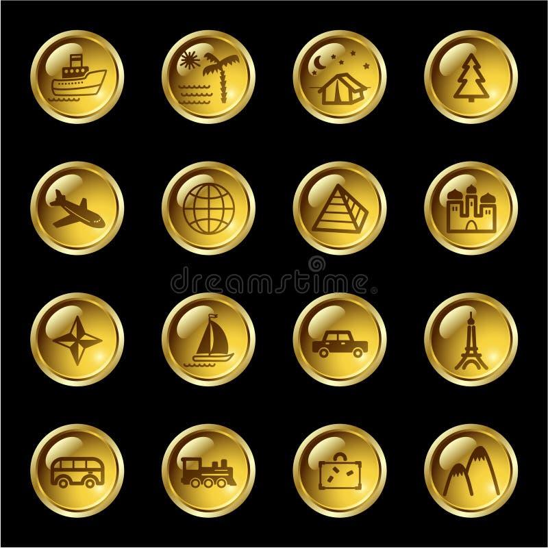 złota zrzutu ikony podróży