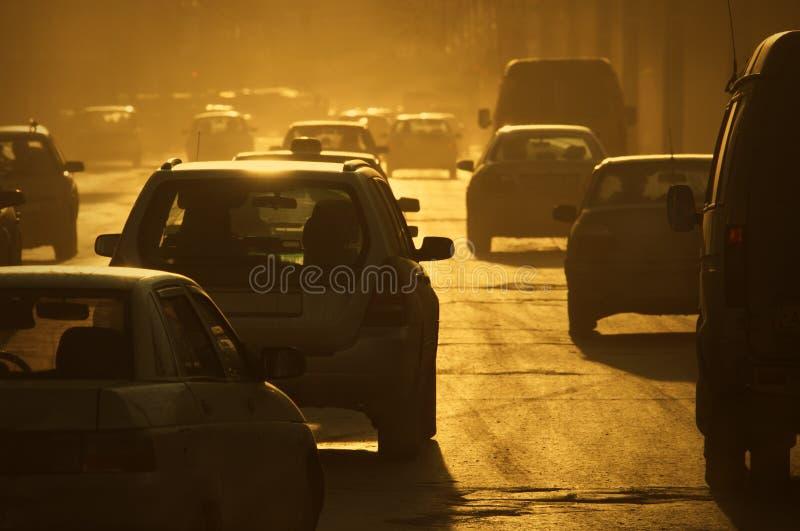 złote światło miejskie obrazy stock