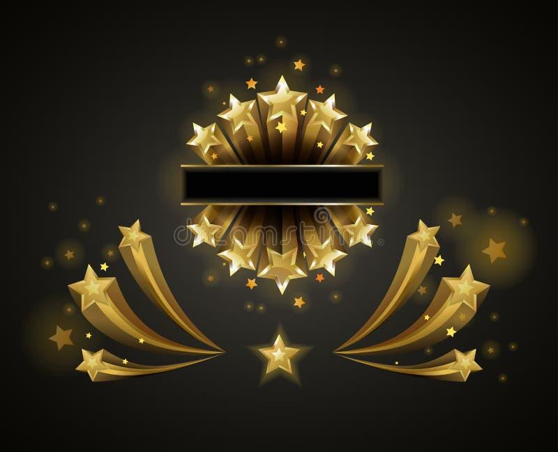 Złote błyszczące gwiazdy które latają ślad i opuszczają ilustracji