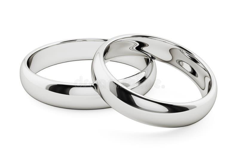 Złote białe pierścienie izolowane ilustracji