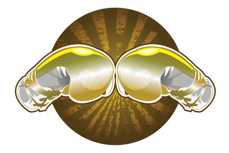Złote bokserskie rękawiczki royalty ilustracja