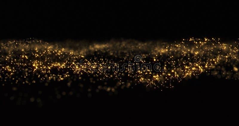 Złote cząstki błyszczące, błyszczące złote iskry i żółte błyszczące jaskrawe tło Złoty blask i migotanie zdjęcia royalty free