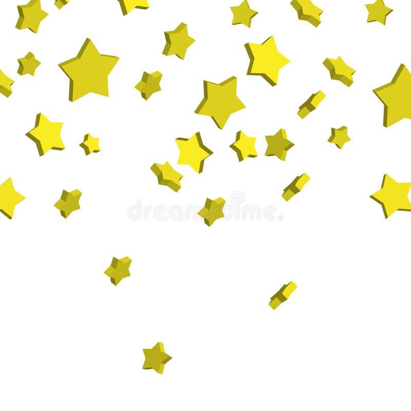 Złote 3d gwiazdy spada od above Wektorowa ilustracja złoto ilustracji