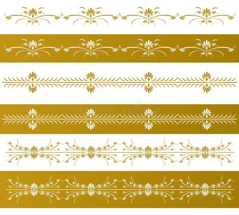 Złote dekoracyjne kwieciste granicy royalty ilustracja