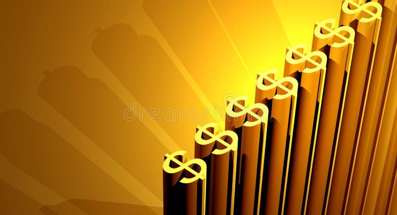 złote dolarów. ilustracja wektor