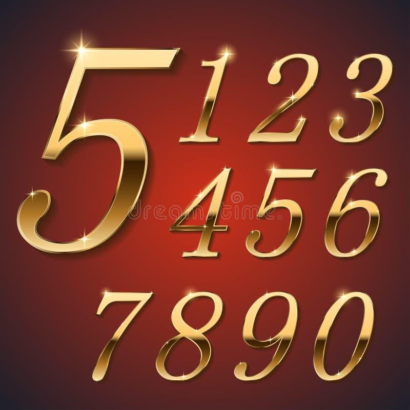 Złote eleganckie cyfry royalty ilustracja