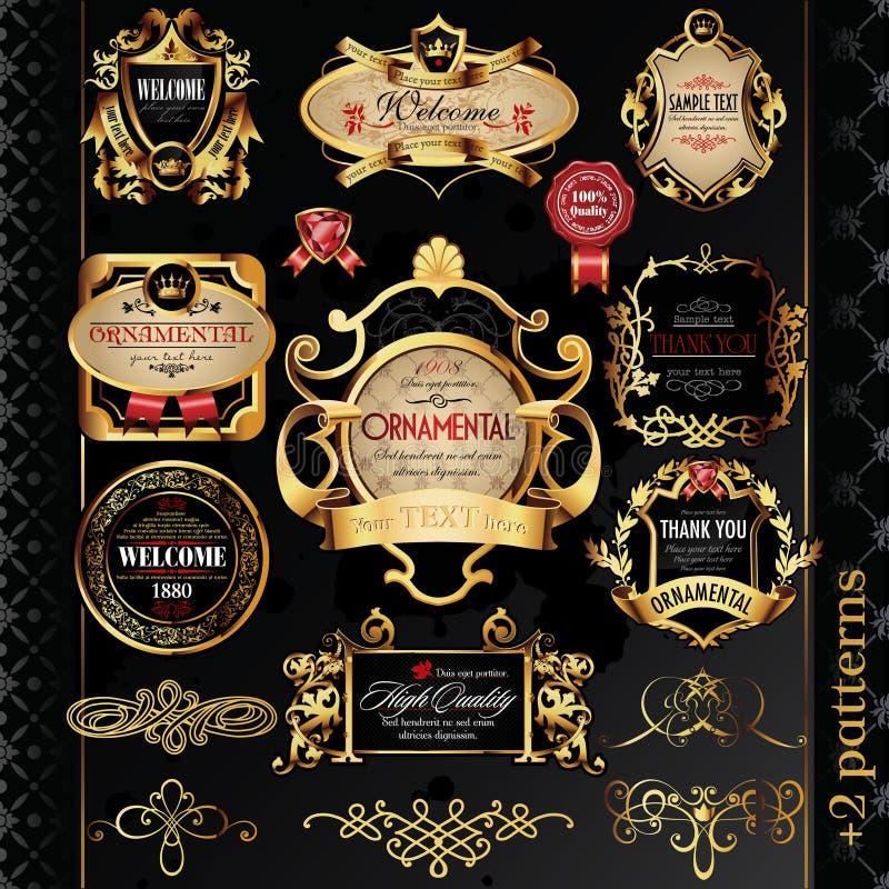 Złote etykietki duży set ilustracji