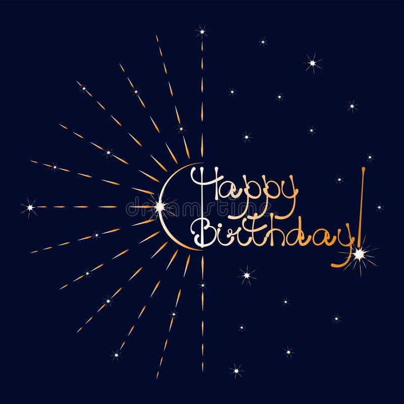 złote fajerwerki szczęśliwy urodziny ilustracji
