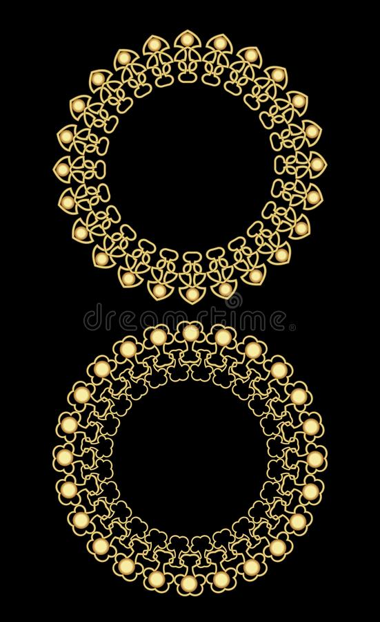 Złote filigree okrąg ramy, luksusowa winiety granica w retro wiktoriański stylu, dekoracja w art deco projekcie ilustracja wektor