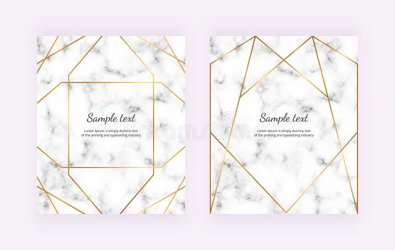 Złote geometryczne linie na białej marmurowej teksturze Minimalistyczny projekt Nowożytny tło dla zaproszenia, karta, sztandar, ś ilustracja wektor