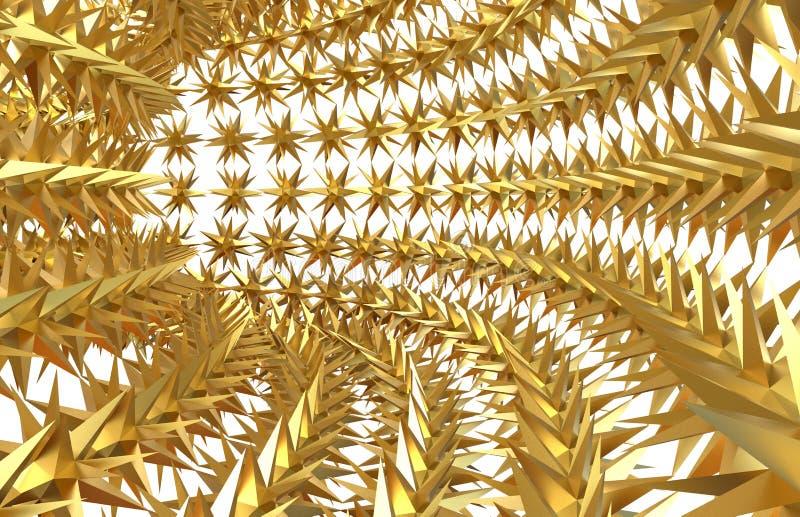 Złote gwiazdy w formie tunelu ilustracja wektor