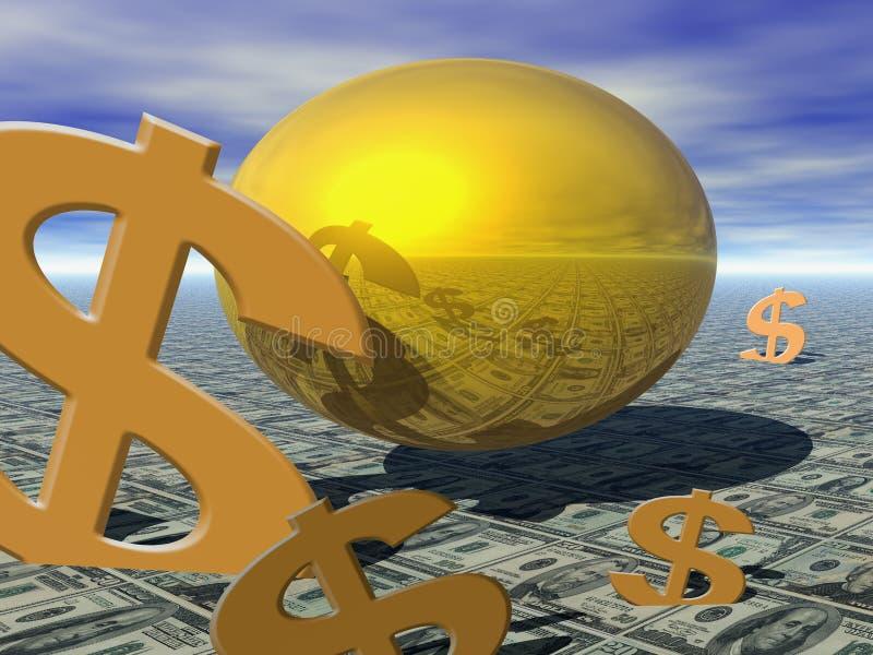 złote jajko gniazdo royalty ilustracja