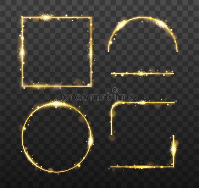 Złote jarzy się ramy i elementy z błyszczącymi iskrami Dekoracyjny element dla sztandaru lub szablony na przejrzystym ilustracja wektor