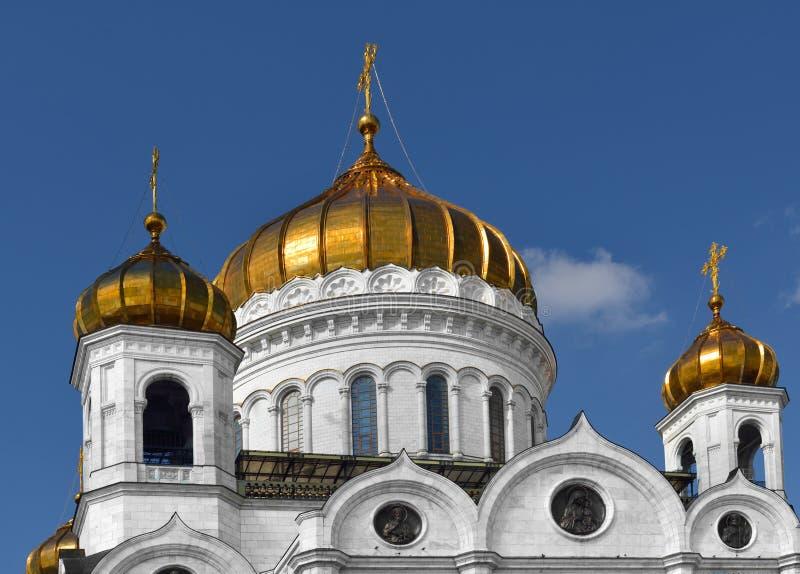 Złote kopuły katedra Chrystus wybawiciel moscow obraz royalty free
