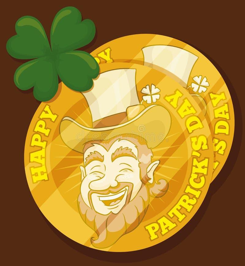 Złote Leprechaun monety dla St Patrick dnia, Wektorowa ilustracja royalty ilustracja