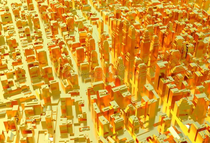 złote miasto tło sprawy abstrakcyjne royalty ilustracja