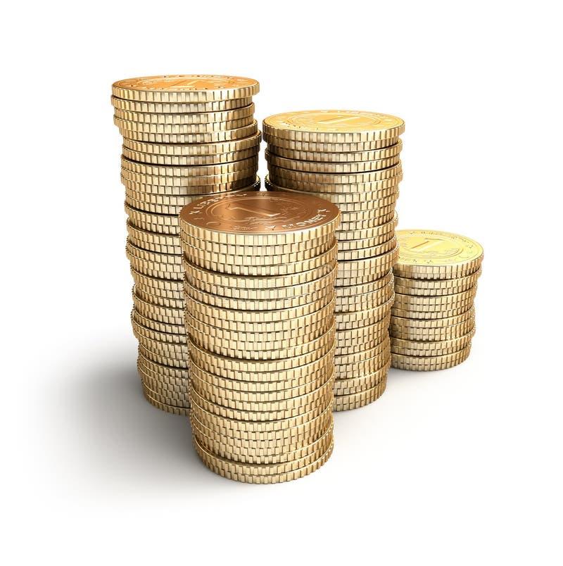 Złote monety w stosach. royalty ilustracja