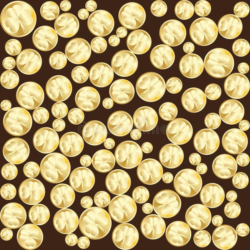 Złote monety z liśćmi koniczyna Wektoru deseniowy tło dla St Patricks dnia royalty ilustracja