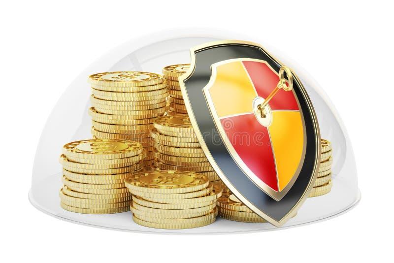 Złote monety zakrywać szklaną kopułą Ochrona i ochrona conc ilustracja wektor