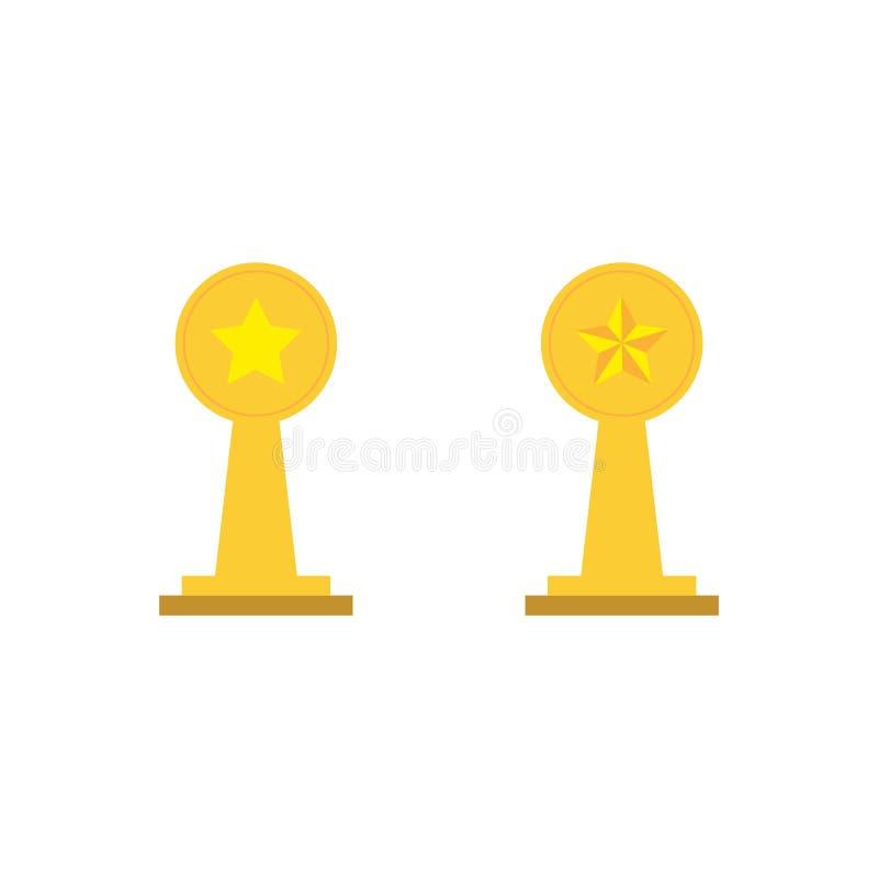 Złote nagrody Realistyczna złocista filiżanka ilustracja wektor
