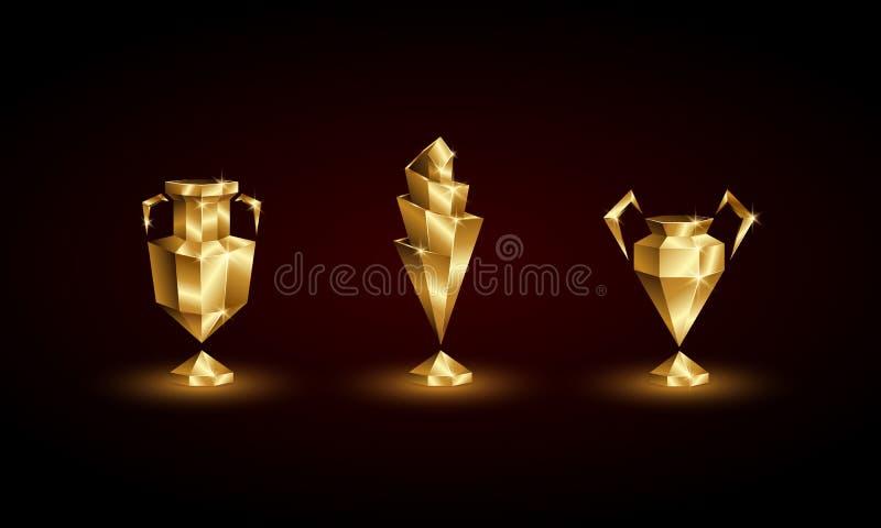Złote Niskie Poli- piłek nożnych filiżanki Ustawiać Abstrakcjonistyczny Poligonalny 3D Futbolowy trofeum euro, mistrzowie, narody royalty ilustracja