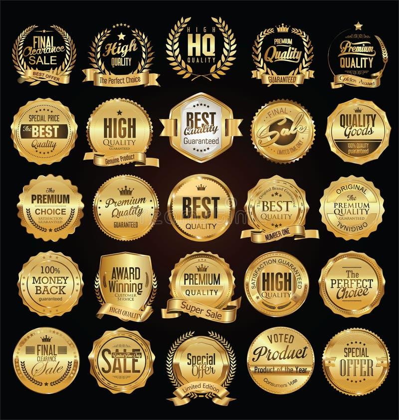 Złote odznaki i etykietki z złotą tasiemkową wektorową kolekcją ilustracji