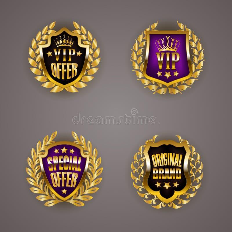 Złote odznaki z laurowym wiankiem royalty ilustracja