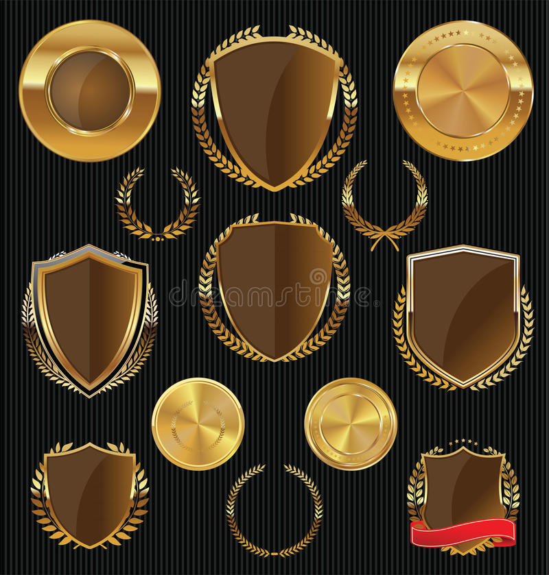 Złote osłony, etykietki i kolekcja, bobków, złocistej i brown, ilustracji