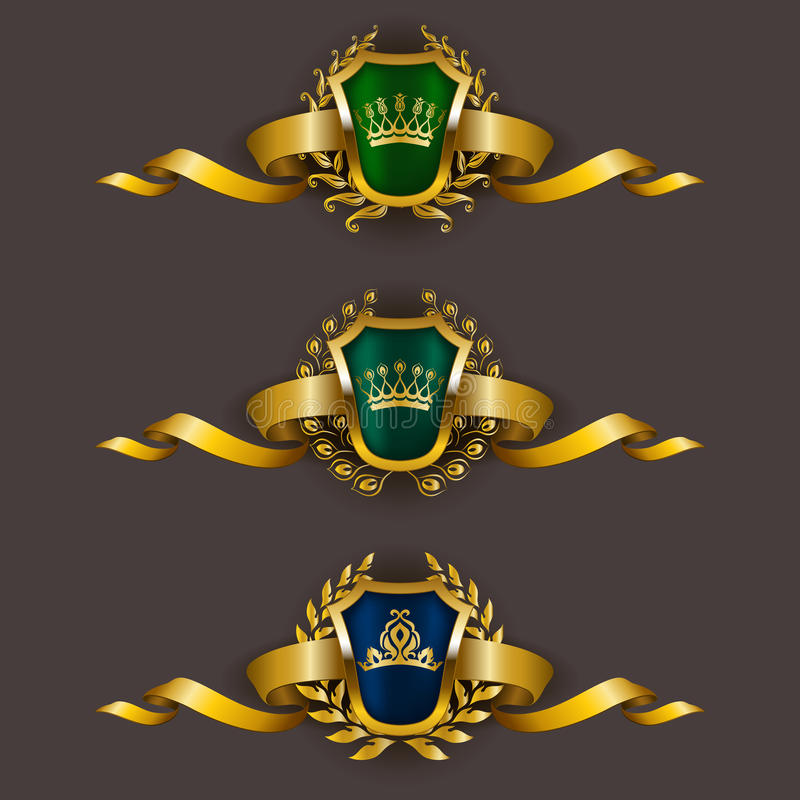Złote osłony z laurowym wiankiem royalty ilustracja