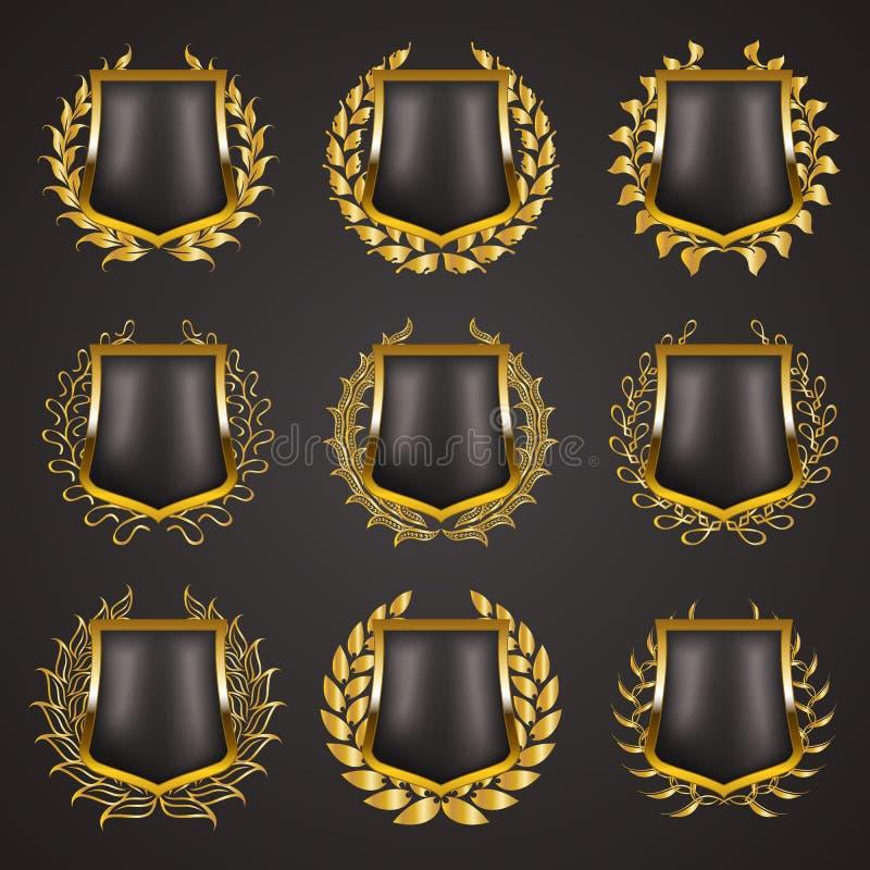 Złote osłony z laurowym wiankiem ilustracja wektor