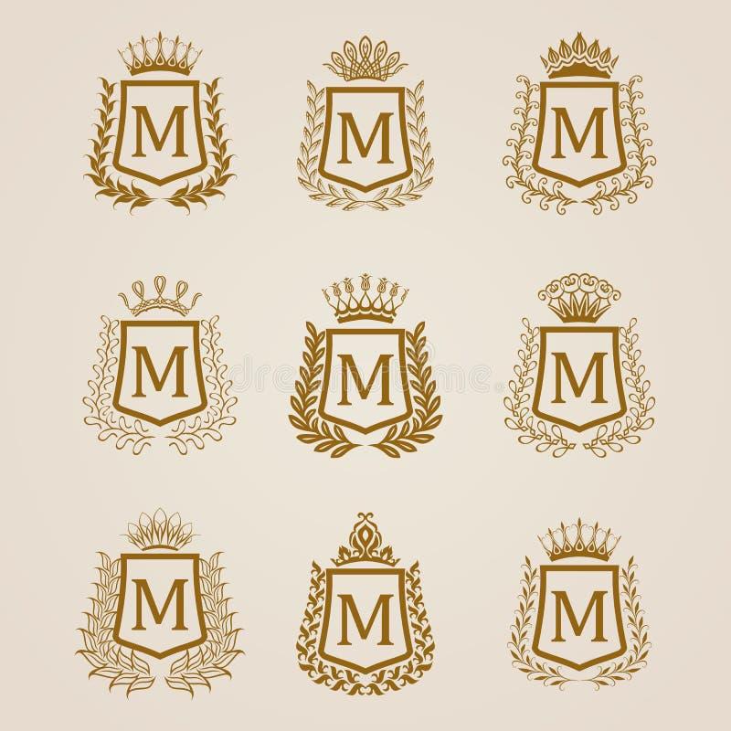 Złote osłony z laurowym wiankiem ilustracji