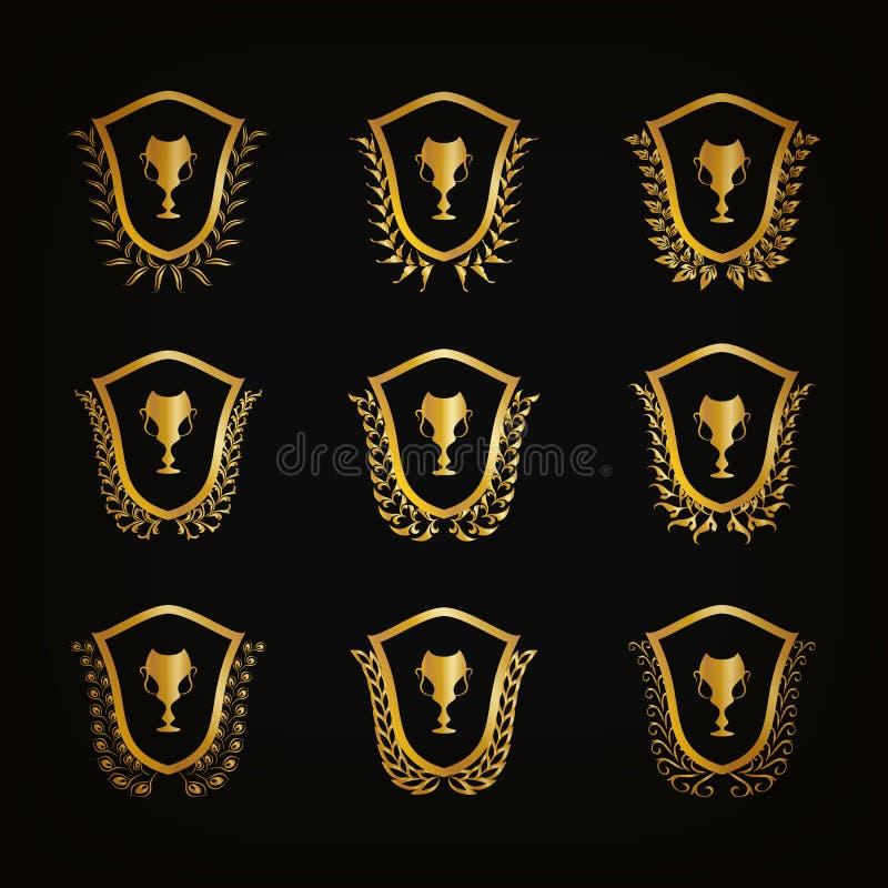 Złote osłony z laurowymi wiankami, filiżanki royalty ilustracja