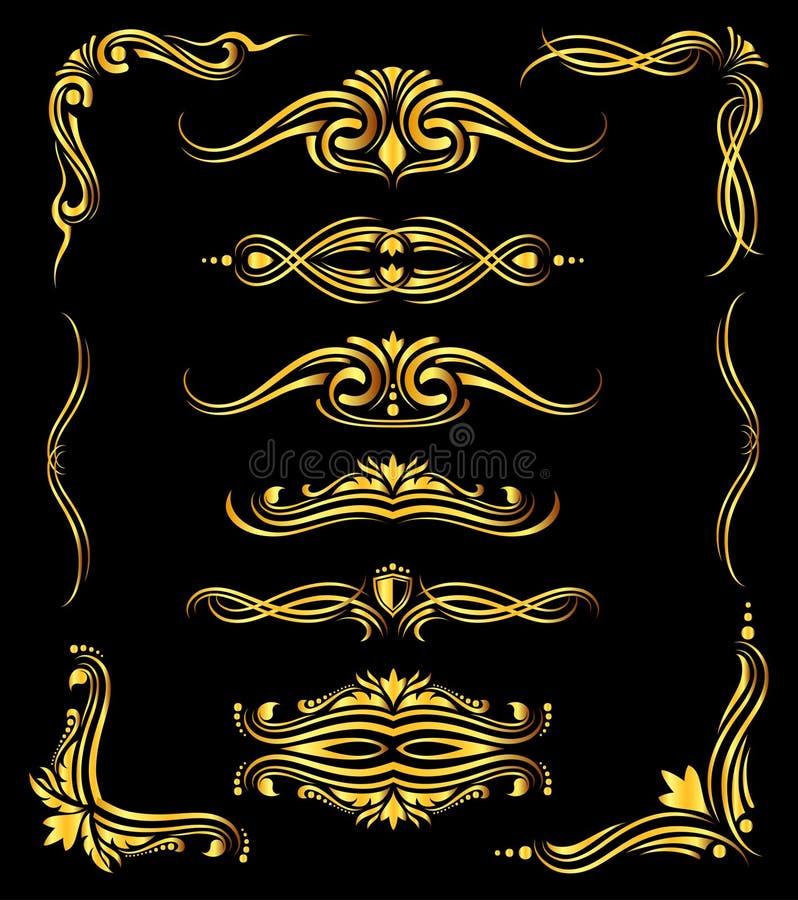 Złote ozdobne wektor granicy i narożnikowi elementy nad czernią ilustracji