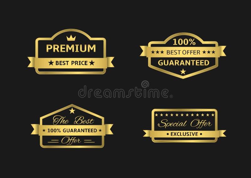 Złote premii etykietki ilustracja wektor