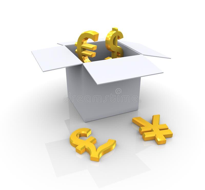 złote pudełkowate waluty ilustracja wektor