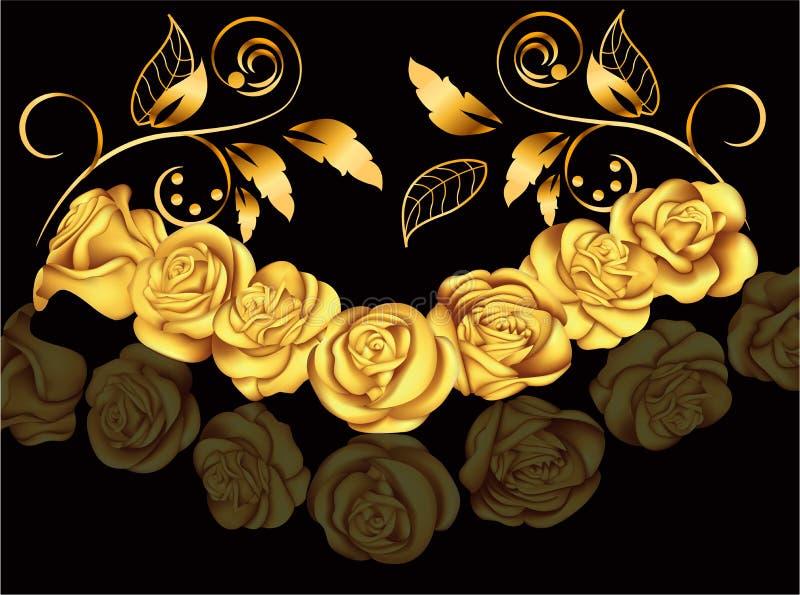 Złote róże w wiktoriański stylu kwitnie ilustracyjnego chodaka samless wektor wiązka rzeźbiący dekoraci winogron rocznik drewnian ilustracja wektor