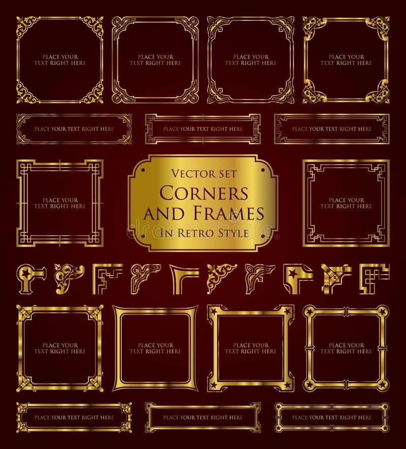 Złote retro ramy, kąty i kaligraficzni projektów elementy, royalty ilustracja