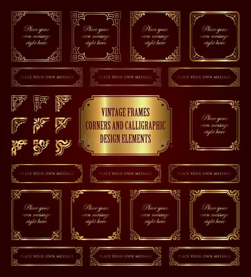 Złote rocznik ramy, kąty i kaligraficzni projektów elementy, ilustracja wektor