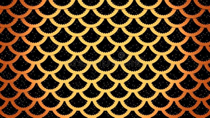 Złote rybie skale na czarnych komórkach deseniują morską tła 3D ilustrację royalty ilustracja
