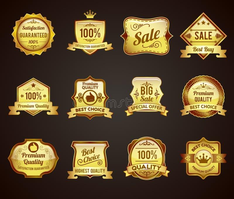 Złote sprzedaży etykietek ikony inkasowe ilustracja wektor