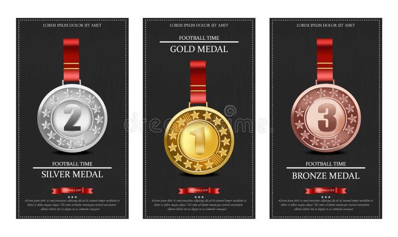 Złote, srebne i brązowi medale wektoru ilustracje, ilustracji