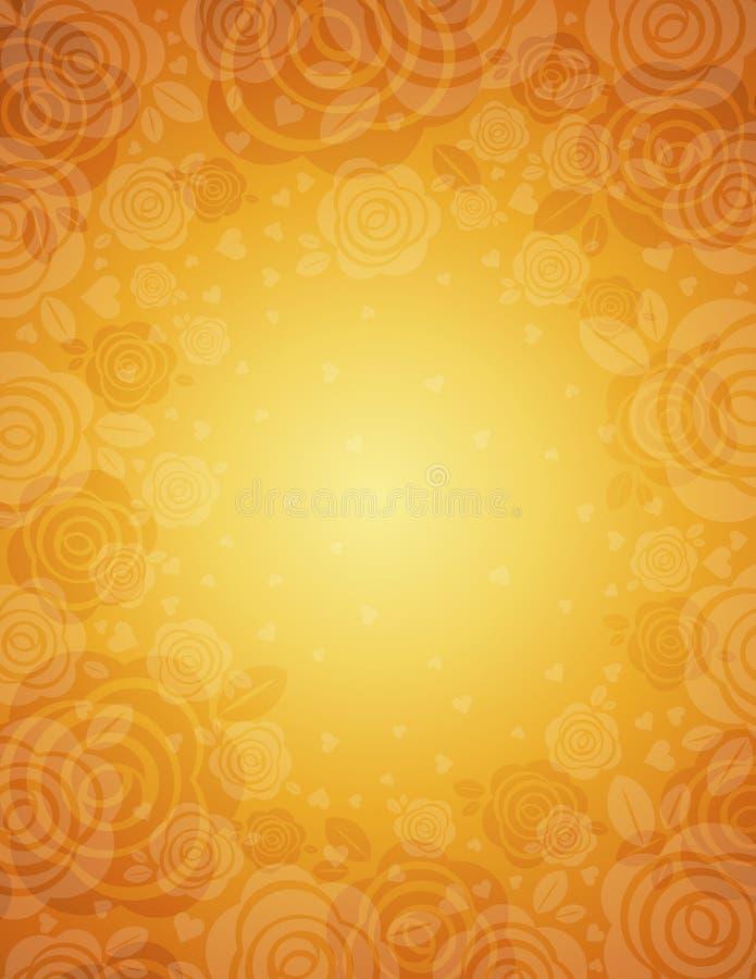 złote tło róże ilustracji