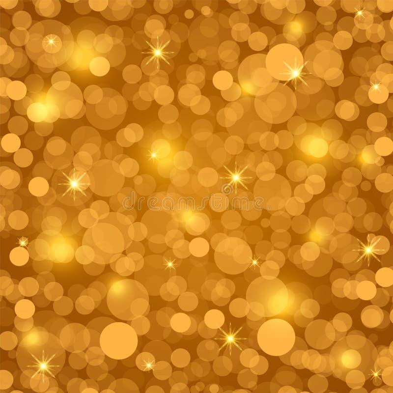 Złote złote tło z jasnym bokejem i gwiazdami Święto Bożego Narodzenia i Nowy Rok Ilustracja wektorowa ilustracja wektor