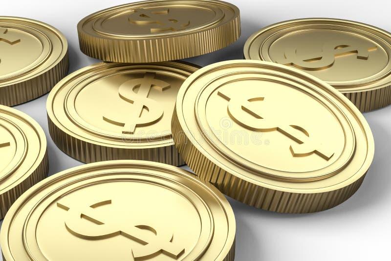 złote walut monety z białym tłem, 3d rendering ilustracji